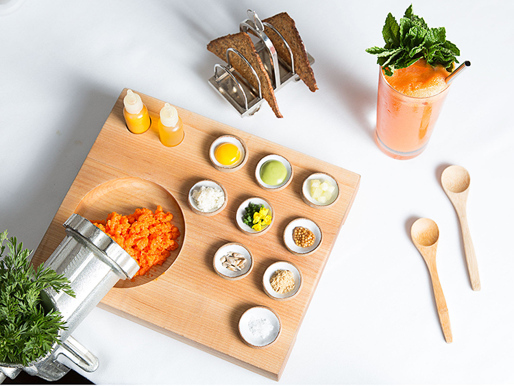 leven Madison Park's carrot tartare with Amagansett Sea Salt and other mix-ins